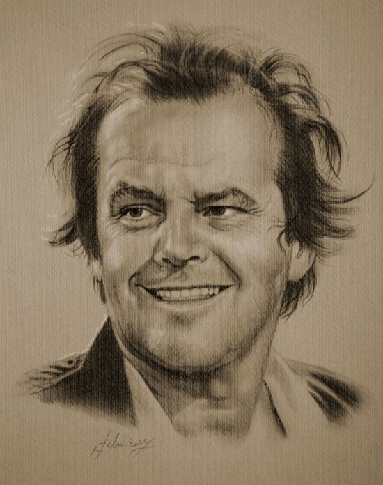 نقاشی سیاه قلم چهره سینما جهان
