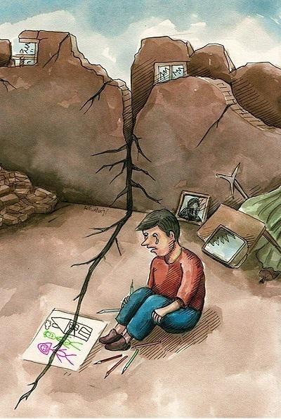 کاریکاتور زلزله / کاریکاتور زلزله ی تهران