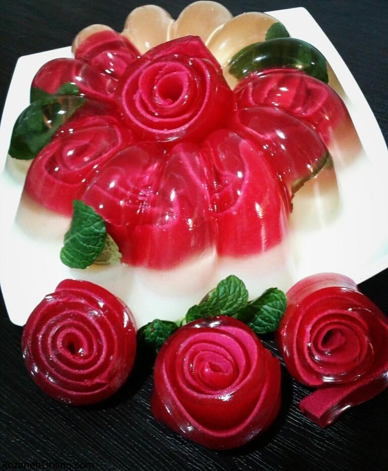 آموزش تزیین ژله گل رز