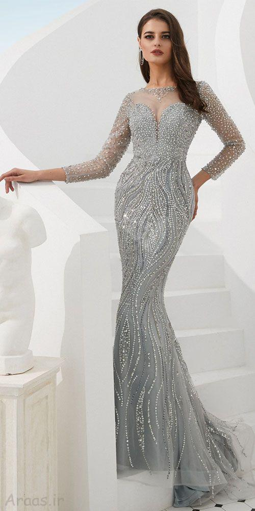 مدل لباس شب بلند جواهر دوزی شده