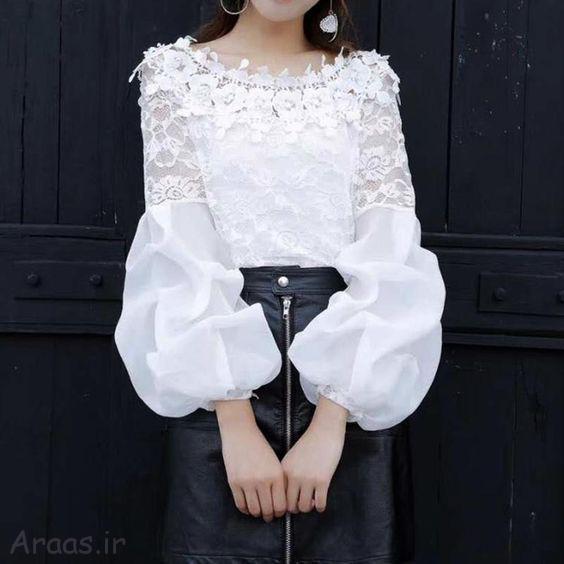 بلوز شیک ترین مدل های ست بلوز مجلسی با دامن و شلوار2020  مدل های زیبای لباس تابستانی دخترانه  بلوز گیپور مجلسی