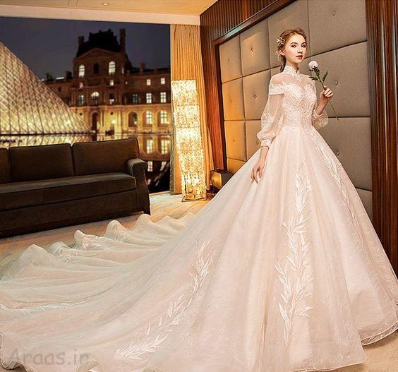 مدل لباس عروس جدید پف و دنباله دار