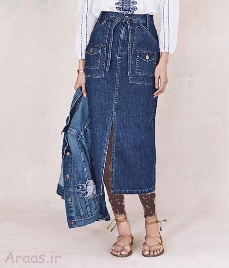 مدل دامن جین تن خور شیک بلند و کوتاه